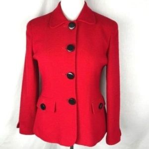 Christian Dior Red Worsted Wool Blazer Jacket 10